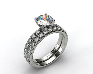 18k White Gold 0.32ct French Cut Pave Engagement Ring &amp; .34ct French Cut Pave Wedding Ring